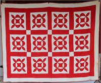 OLD HAND SEWN RED & WHITE QUILT, GEOMETRIC