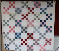 HAND SEWN QUILT 9 BLOCK SQUARE PATTERN,