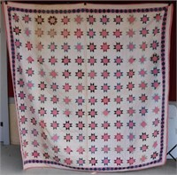 HAND MADE QUILT WITH STAR DESIGN, SHOWS