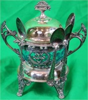 VICTORIAN SILVER-PLATED SUGAR BOWL WITH SPOON