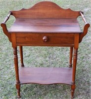 19TH C. ONE DRAWER WASHSTAND WITH BACKLASH
