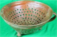 EARLY REDWARE COLANDER, ONE HANDLE MISSING