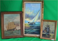 LOT OF 3 OIL PAINTINGS OF SHIPS, 2 ON BOARD,
