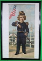 19TH C. LITHOGRAPH OF CHILD NAVAL OFFICER,