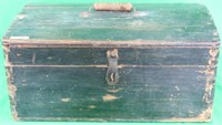 19TH C. DOVETAILED PAINTED LIFT TOP BOX, PINE,