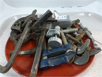 6-C Clamps, 3-Older Clamps, 1-Bar Clamp, Vise