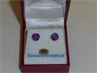 14kt Yellow Gold Genuine Amethyst Stud Earrings