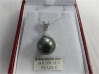 Sterling South Sea Cultured Pearl & CZ Pendant