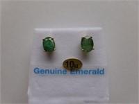 10kt Yellow Gold Genuine Emerald Earrings