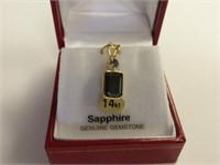 14kt Yellow Gold Genuine Blue Sapphire Pendant