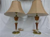Metal/Wood Base Table Lamps (2)