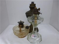3pcs-Oil Lamps, 1 clear, 1 Metal End Bracket Lamp