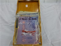 Approx. 40pcs of Early Sheet Music and Wood Tray