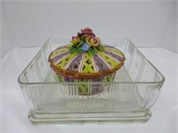 Square Fridge Keeper w/lid, Italy covered bowl