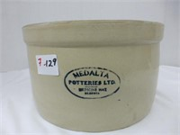 "Medalta Potteries Crock 9 1/2"" diam 5 1/2"" deep"