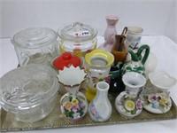 3 jars with lids/jam pot and lid/ (12) mini vases