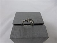 Silver Twist Ring w/Diamonds in Band