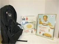 Campbells Backpack & 2 framed advertizing pieces