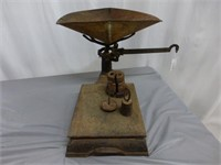 Brass Beam Scale w/6 weights