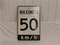 Maximum 50Km/h Road Sign