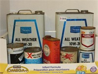 Assorted Oil and Lubricant Tins (See Description)
