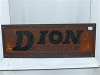 """Dion Machinery Metal Sign - 32 1/2"""" x 11  1/2"""""""