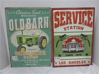 """Old Barn"" and ""Service Station since 1976"" Signs"