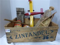 Zinfandel Wooden Crate w/Misc. (See Description)
