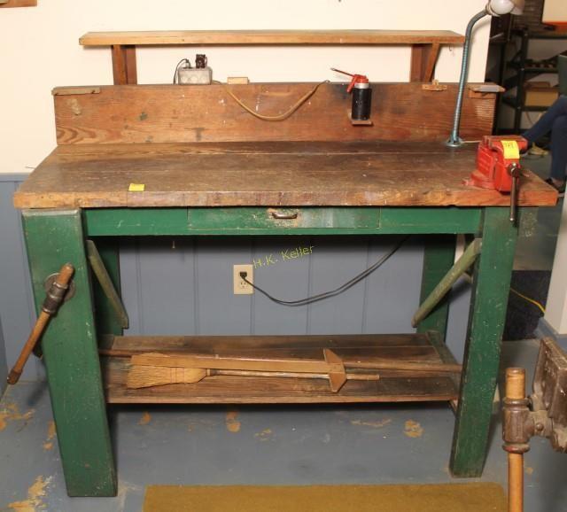 Enjoyable Antique Handmade Wooden Work Bench With Vice H K Keller Ibusinesslaw Wood Chair Design Ideas Ibusinesslaworg