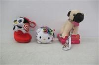 Lot of (3) Miniature Plush Toys