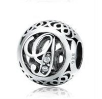 925 Sterling Silver 11 mm Big Hole Letter Beads,