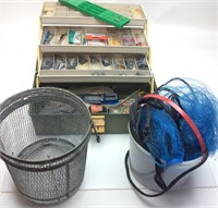 TACKLE BOX WITH MINNOW NET & BUCKET