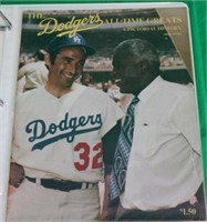 BINDER CONTAINING 14 DODGERS YEARBOOKS FROM
