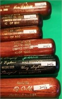 6 HALL OF FAME LOUISVILLE SLUGGER BATS WITH HALL