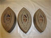 Sad Iron w/Handle, Trivet, (3) Guelph flat irons