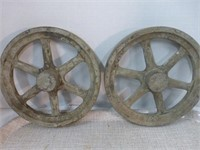 """2-Wooden Pulleys 8""""x1"""" in Wooden Box"""