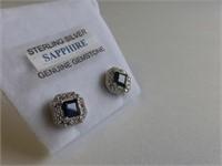 Sterling Genuine Blue Sapphire & CZ Earrings