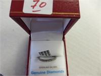 Sterling Diamond Ring, 21 Diamonds (0.38cts)