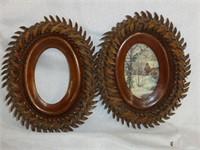 Set of 3 Oval Wooden Leaf Pattern Picture Frames
