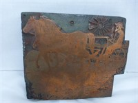 Copper Stamp of Man with Horses in the Field