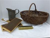 Wicker Basket-wool carders, brush, tin pitcher