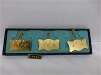 Brass Scales in Case, Set of Brass Liquor Labels