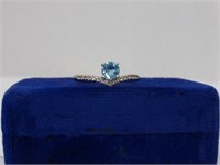 Sterling Ring w/Topaz and Diamonds
