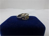 10Kt Gold and Sterling Ring w/Diamonds