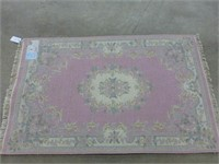 """Indian Wool Rug - Dusty Rose/Floral 47""""x72 1/2"""""""