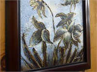 """Wooden Frame Acrylic Floral 26"""" x 30"""""""