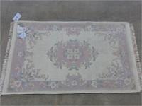 Indian Wool Rug - Pale Pink/Rose/Floral 3'x5'