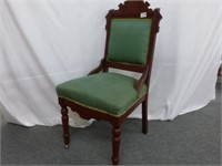 Parlor Chair on Casters w/Green Upholstery