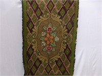 Fur Buttoned Wrap, Green and Floral Hooked Mat