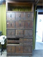 Stacking 6-Section Oak File Cabinet - As Found